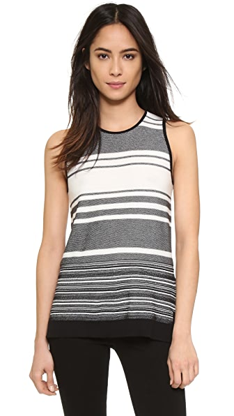 Vince Multi-Stripe Sweater Tank - Black/Off White