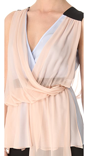 Vionnet Draped V Neck Top
