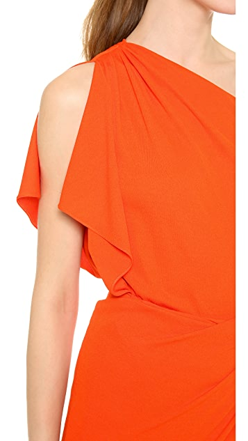 Vionnet One Shoulder Capelet Dress