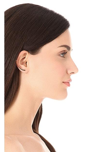 Vita Fede Half Moon Half Crystal Earrings