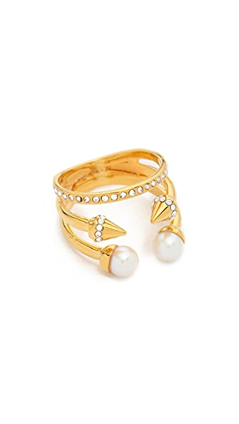 Vita Fede Ultra Mini Freshwater Cultured Pearl Titan Ring In Gold