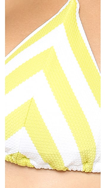 Vitamin A Natalie Mitre Stripe Halter Bikini Top