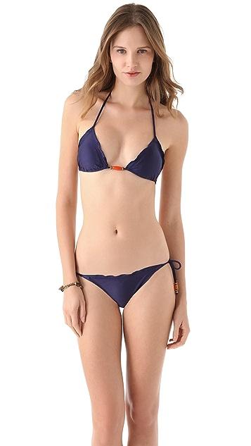 ViX Swimwear Solid Navy Tie Side Bikini Bottoms