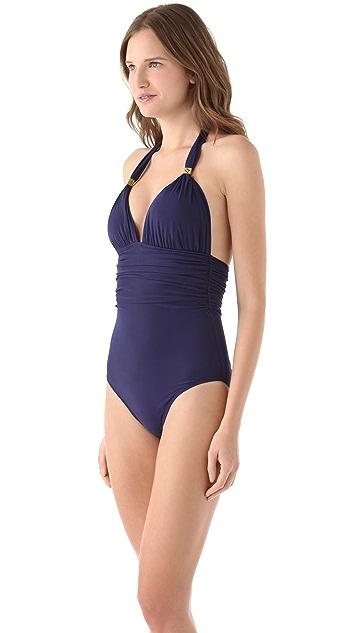 ViX Swimwear Solid Navy One Piece Swimsuit