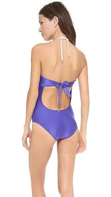 ViX Swimwear Solid Blue Bandeau One Piece Swimsuit