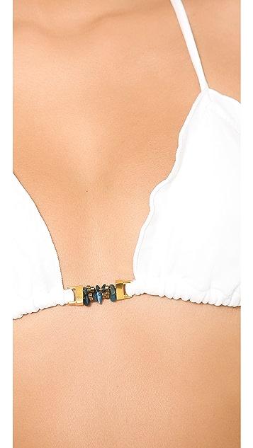 ViX Swimwear Solid White Triangle Bikini Top