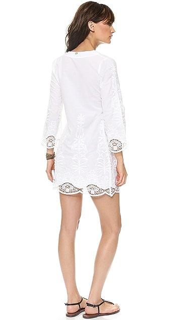 ViX Swimwear Solid White Flower Tunic