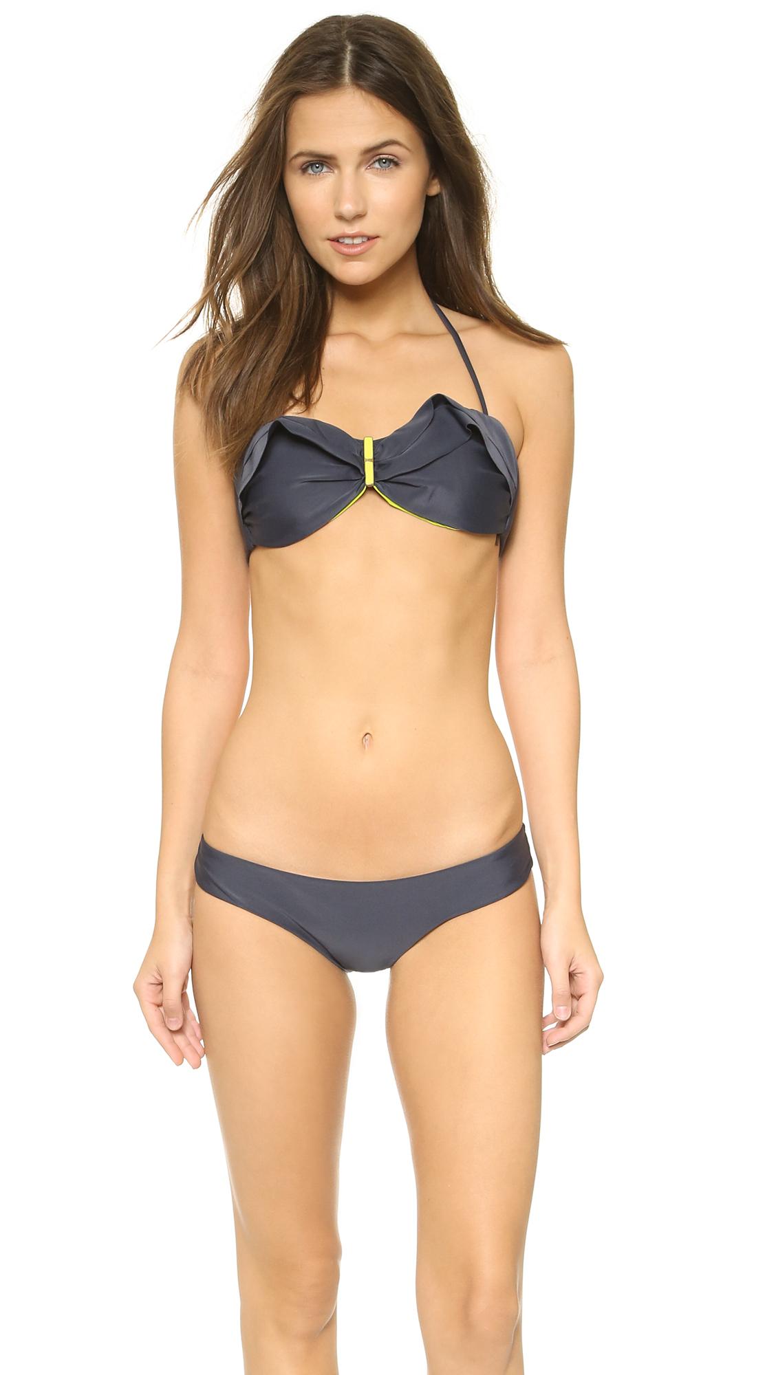 4a04a99f5671e ViX Swimwear Sofia Solid Grafite Ruffle Bandeau Bikini Top on PopScreen