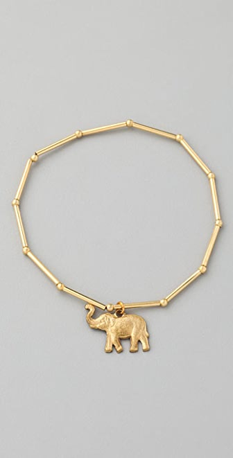 Vanessa Mooney Tube Bracelet with Elephant Charm