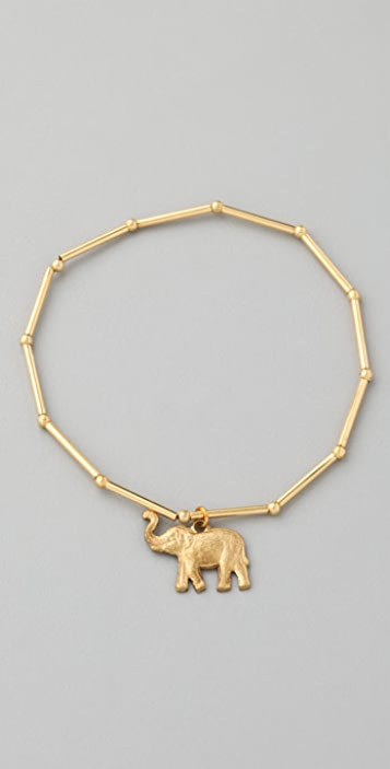 Vanessa Mooney Tube Bracelet with Elephant Charm