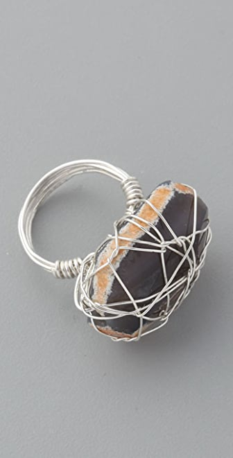 Vanessa Mooney Brazilian Agate Wire Wrap Ring