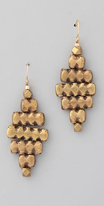 Vanessa Mooney Brass & Cube Earrings