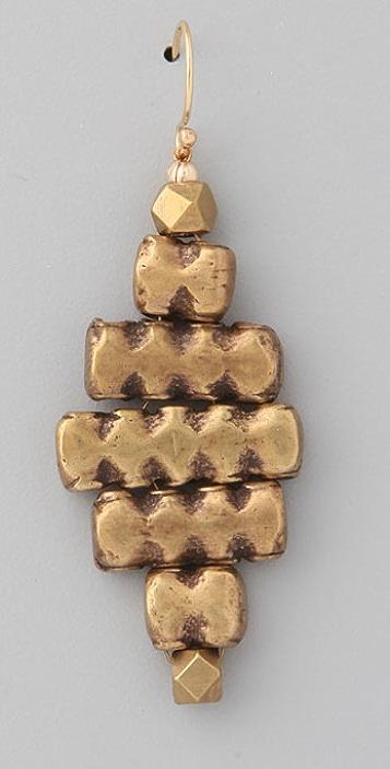Vanessa Mooney Brass & Cube Earrings