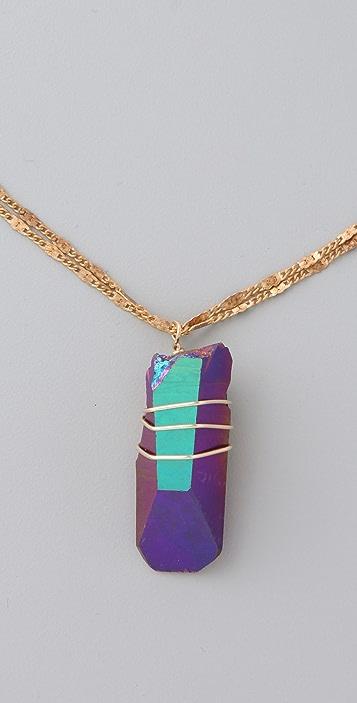 Vanessa Mooney Wire Wrap Rainbow Quartz Necklace