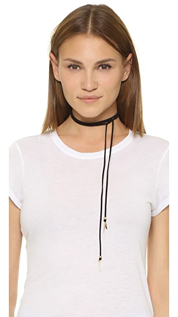 Vanessa Mooney Suede Wrap Necklace with Spikes