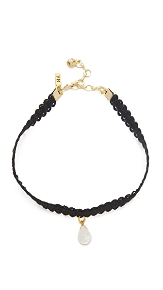 Vanessa Mooney Black Lace Choker with Teardrop