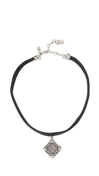 Vanessa Mooney Black Leather Choker with Oxidized Charm
