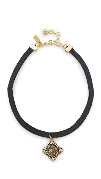 Vanessa Mooney Black Leather Choker with Charm