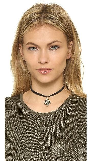 Vanessa Mooney Black Leather Choker with Charm