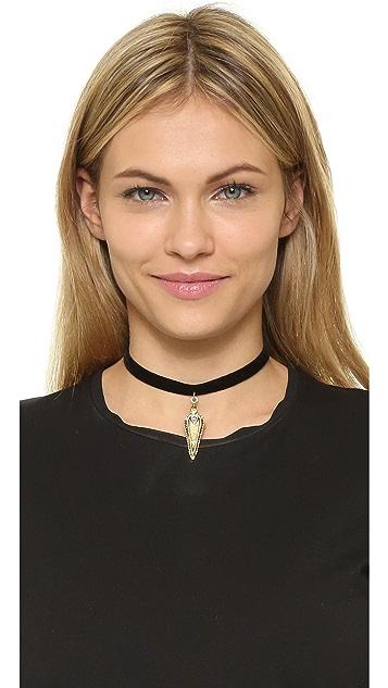 Vanessa Mooney Black Velvet Choker with Crystal Studded Pendant