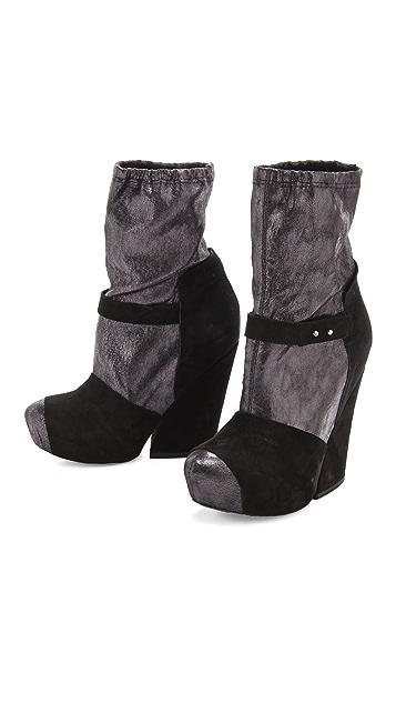 Vic Matie Mary Jane Metallic Booties