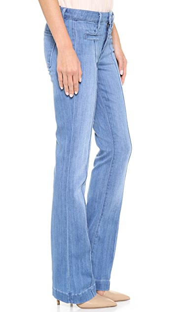 Vince Denim High Rise Pintuck Boot Cut Jeans