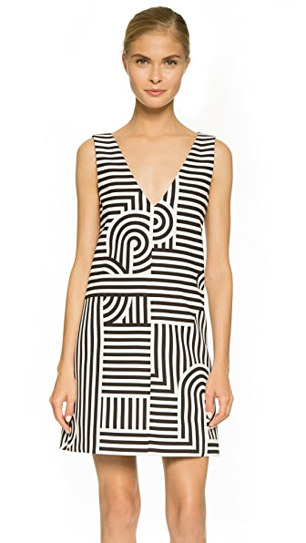 Victoria Victoria Beckham Printed Deep V Shift Dress