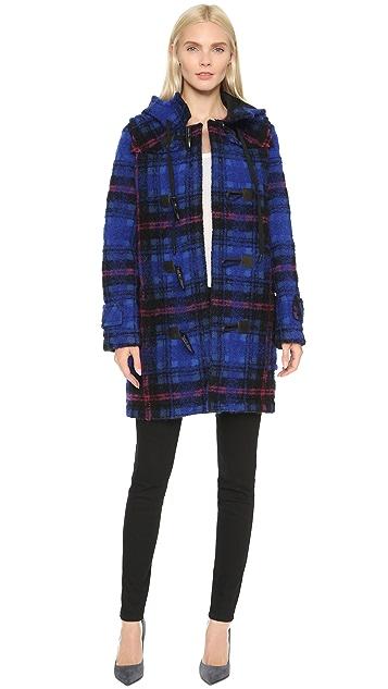 Victoria Victoria Beckham Bonded Brushed Check Oversized Duffle Coat