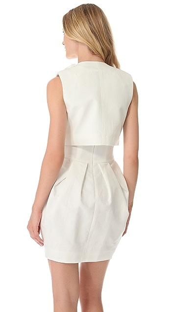 Vera Wang Collection Cropped Sleeveless Jacket