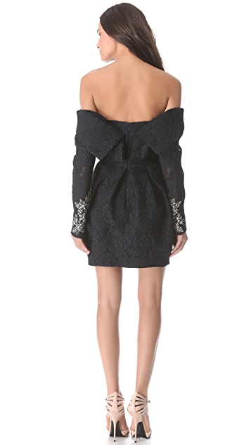 Vera Wang Collection Off-Shoulder Dress with Tulip Skirt