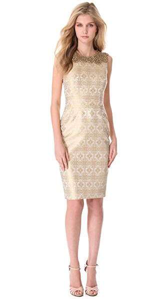 Vera Wang Collection Jeweled Yoke Sheath Dress