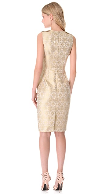 Vera Wang Collection Jeweled Yoke Sheath Dress