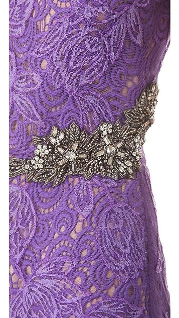 Vera Wang Collection Sheath Dress with Jeweled Waist