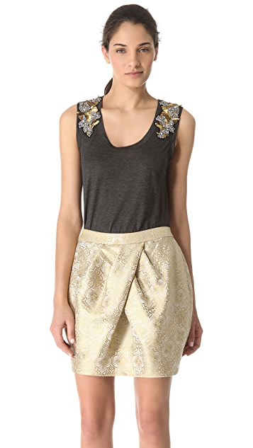 Vera Wang Collection Tank with Metallic Epaulets