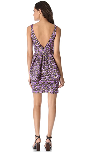 Vera Wang Collection Sleeveless Floral Cloque Dress