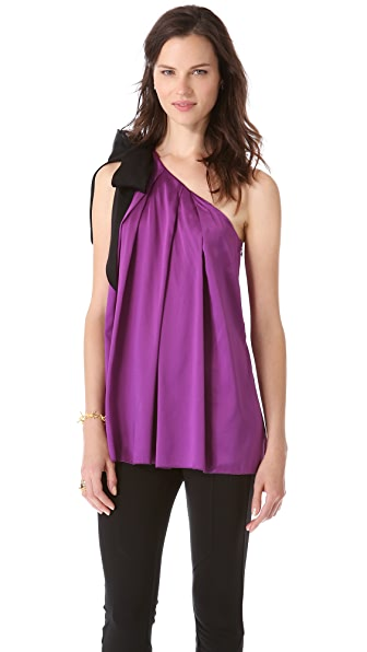 Vera Wang Collection Draped Tank with Grosgrain Detail
