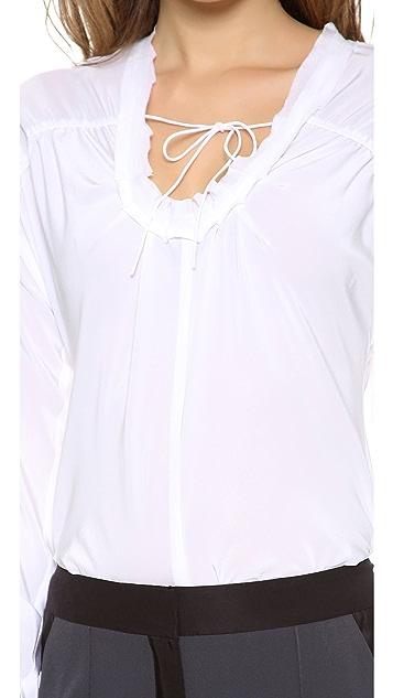 Vera Wang Collection Drawstring Long Sleeve Top
