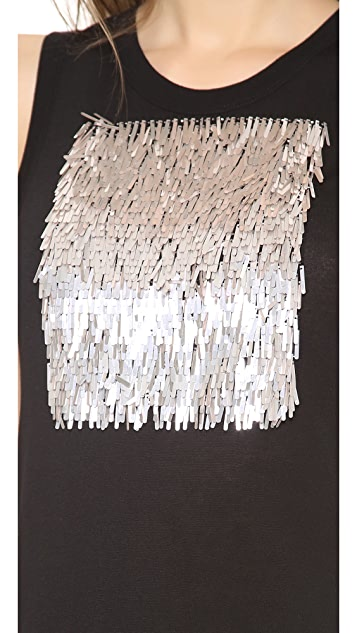 Vera Wang Collection Fringed Sequin Jersey Tank