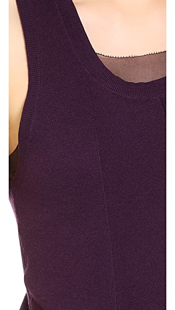 Vera Wang Collection Crewneck Vest with Chiffon Underlay