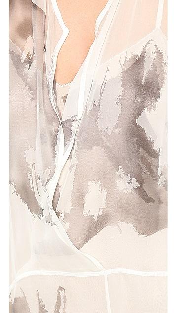 Vera Wang Collection Inkblot Painted Flyaway Gown
