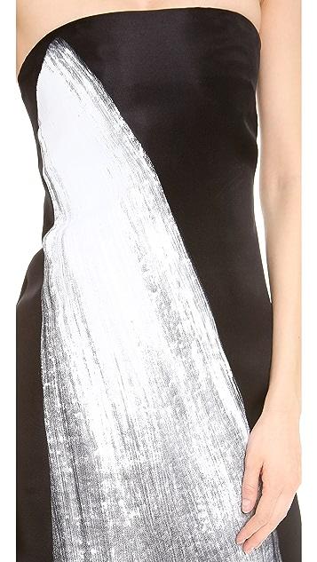 Vera Wang Collection Painted Brushstroke Dress