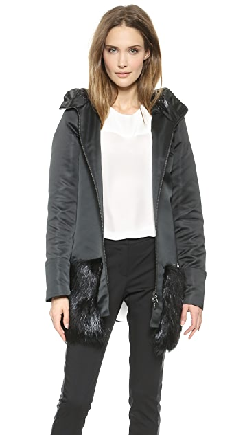 Vera Wang Collection Satin Parka with Beaver Trim