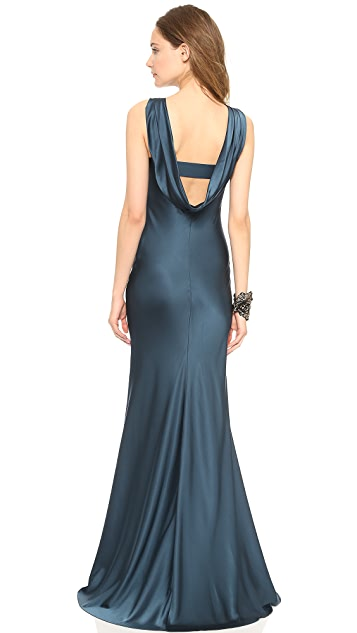 Vera Wang Collection Sleeveless Pleated Gown
