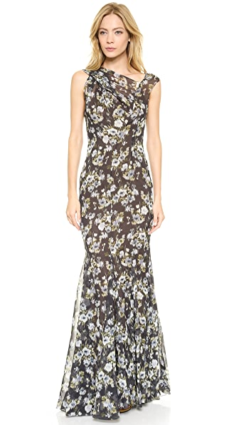 Vera Wang Collection Twist Shoulder Gown
