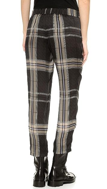 Vera Wang Collection Tartan Silk Drawstring Pants