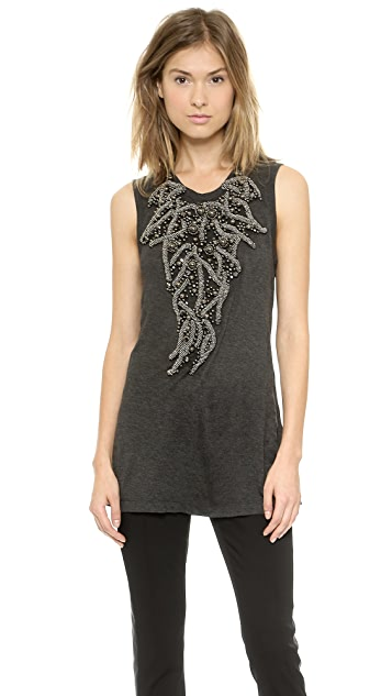 Vera Wang Collection Jersey Tank with Embroidery