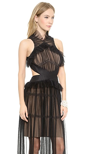 Vera Wang Collection Tiered Tulle Halter Gown