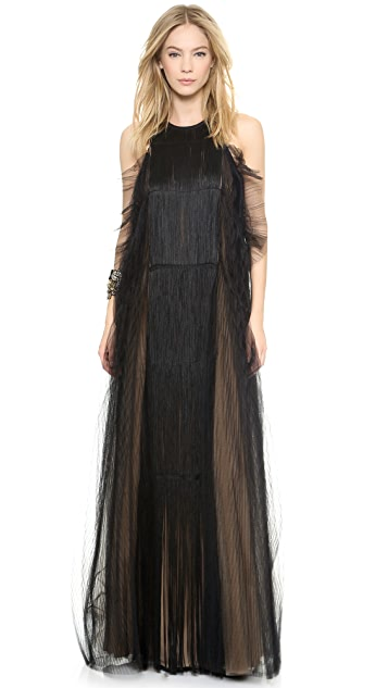 Vera Wang Collection Pleat & Gather Gown