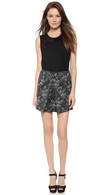 Vera Wang Collection Swarovski Pleat Miniskirt