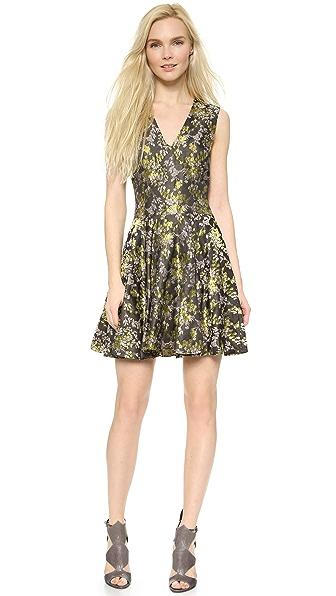 Vera Wang Collection Jacquard V Neck Dress